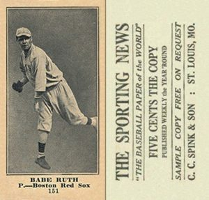 1916 M101 4 Sporting News 151 Babe Ruth rookie card