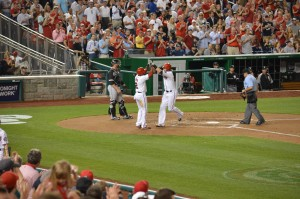 Werth' celebrates dsith inning inger with newest Nat, Denard Span