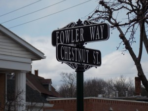 Newly unveiled Fowler Way sign