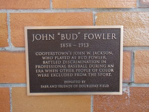 Newly unveiled Bud Fowler plaque