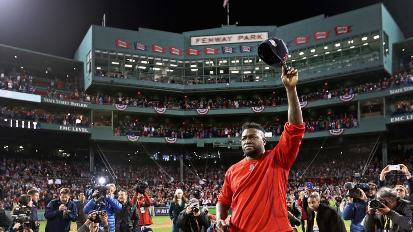 BOSTON, MA - OCTOBER 10:  David Ortiz #34 of the Boston Red Sox tips his cap after the Cleveland Indians defeated the Boston Red Sox 4-3 in game three of the American League Divison Series to advance to the American League Championship Series at Fenway Park on October 10, 2016 in Boston, Massachusetts.  (Photo by Maddie Meyer/Getty Images)