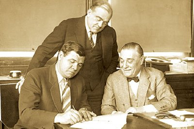 From left: Babe Ruth, Ed Barrow, Jacob Ruppert