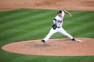 Billy Wagner pitching on Opening Day 2010 at Turner Field. (Photo credit: Allison Shirreffs)