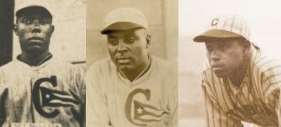 An unlucky trio: Willie Foster, Oscar Charleston, and Judy Johnson, the first two in their Cuba Baseball Club uniforms.