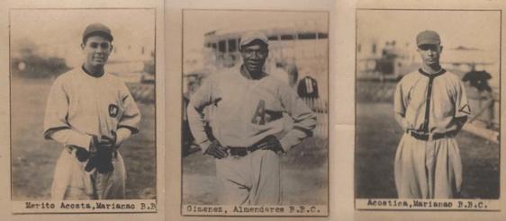 Three Cuban League stars in 1918/19: Merito Acosta, Bienvenido Jiménez, José Acosta