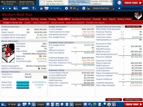 OOTP 12 Finances