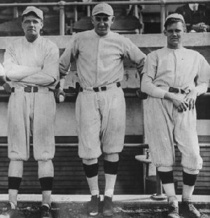 From left: Babe Ruth, Carl Mays and Dutch Leonard.
