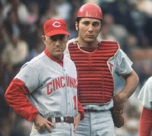 Manager Sparky Anderson and catcher Johnny Bench, the clean cut leaders of the Big Red Machine (c. 1970).
