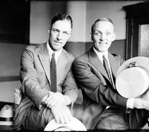Buck Weaver (right) seen here with former teammate Swede Risberg in 1921.